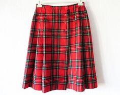 Red Wool Tartan Plaid Skirt Wrap Kilt Pleated Checkered Knee Length Midi Skirt Size Medium