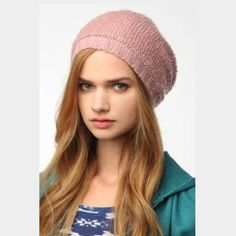 7052c390907 Pink Slouchy Knit Beanie from Urban Outfitters • never worn