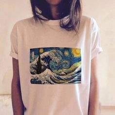 Buy online T-shirt Printing Van Gogh Wave Night for USD Harajuku high-quality fashion clothing store. discounts up to Free worldwide shipping. Return and exchange T-shirt T-shirt Printing Van Gogh Wave Night Vintage Tops, Vintage T Shirts, Vintage Graphic Tees, Aesthetic T Shirts, Aesthetic Clothes, Night Aesthetic, Aesthetic Art, Print T Shirts, Tee Shirts