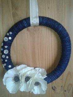 Blue and white Poppy Wreath by GleefulGoat on Etsy, £25.00