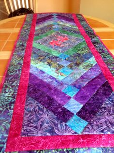 Quilted and Embroidered Batik RunnerFree Shipping by WinFinnertys, $125.00