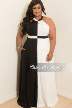 Final Sale Plus Size Sleeveless Long Gown with Pockets and Back Silver Zipper in Black and Off White Black And White Plus Size Dresses, Dress Patterns, Pattern Dress, New Dress, Off White, Black Women, Gowns, Formal Dresses, Chic