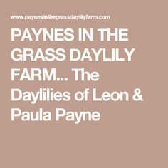 PAYNES IN THE GRASS DAYLILY FARM... The Daylilies of Leon & Paula Payne