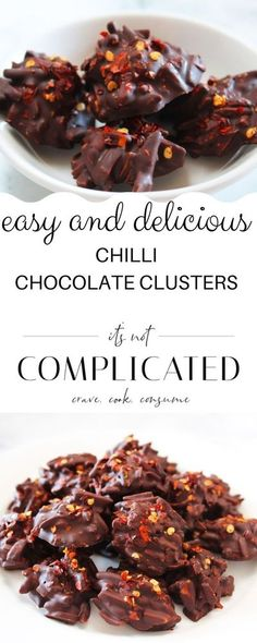 These Chilli Chocolate Clusters contain just three ingredients. If you like both chocolate and spicy food, this is the recipe for you. They are quickly and easily made, perfect with a cup of coffee, ideal as a mid-afternoon energy boost or a sweet treat at any time throughout the day. #chocolaterecipes #homemadechocolates #chillichocolates #chillichocolateclusters #chocolateclusters #cravecookconsume #ediblegifts #itsnotcomplicatedrecipes Spicy Recipes, Sweet Recipes, Baking Recipes, Dessert Recipes, Dinner Recipes, Kitchen Recipes, Eggless Desserts, Homemade Desserts, Delicious Desserts