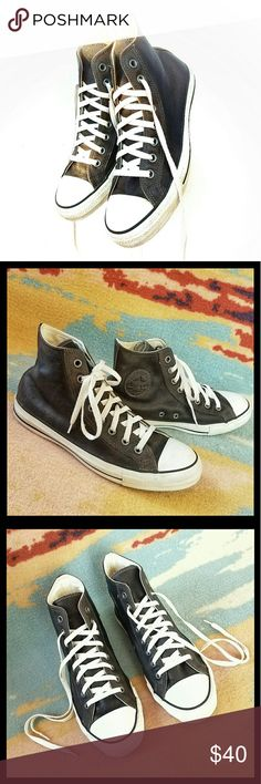 Converse All ⭐Star High Tops Dark brown leather Converse high top chucks. Signs of light wear, great condition. Listed as men's. Size tag is Men 9.  Women 11 Converse Shoes Sneakers