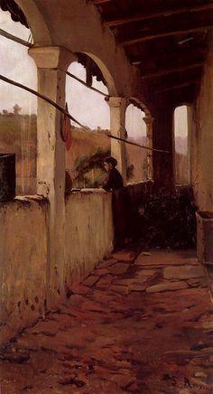 Santiago Rusiñol - El porche, lluvia por la tarde