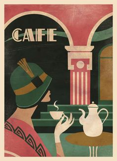 Art Deco Cafe, illustration by Martin Wickstrom.