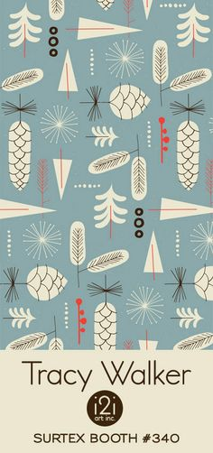Illustration Christmas print & pattern: SURTEX 2013 - tracy walker by clare Textile Patterns, Textile Design, Fabric Design, Textiles, Surface Pattern Design, Pattern Art, Retro Pattern, Art Nouveau, Art Deco