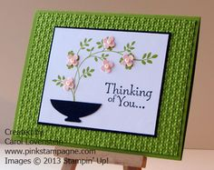 Thoughts and Prayers Thinking of You card - used this idea for Aug card swap project, uses ornament punch for vase