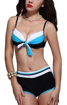 Super Cute! Love this Tankini! Sexy Color Block Spaghetti Straps Bikini Set