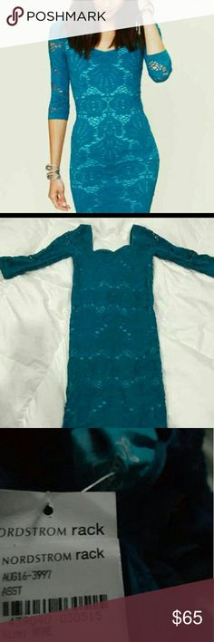 New Free People Blue bodycon Dress M Free People Intimately 3/4 sleeve  comfortable cute sexy, bodycon dress!   -Fitted has plenty of stretch would fit a Medium/Slim Large  -Perfect condition New with tags, never worn bought from Nordstrom Rack! Free People Dresses Mini