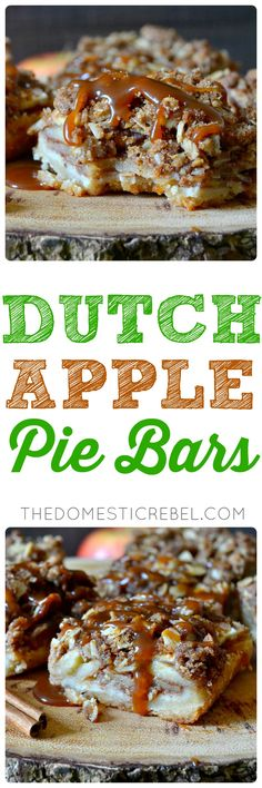 These Dutch Apple Pie Bars are absolute perfection! A buttery shortbread crust supports a thick layer of juicy, tender apples and an irresistible Dutch crumble topping! Perfect for using up those farmers market apples! Pudding Desserts, Apple Desserts, Great Desserts, Apple Recipes, Fall Recipes, Holiday Recipes, Baking Recipes, Cookie Recipes, Delicious Desserts