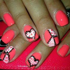 Coral - Black - White - Hearts - Polka dots - Nail design