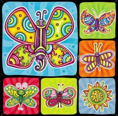 Cartoon butterflies set