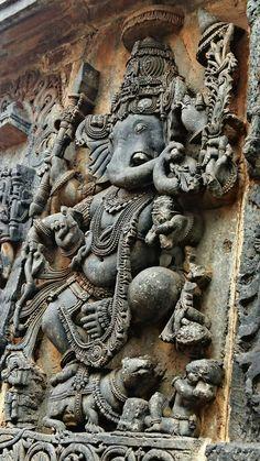 """Lord Ganesh Dancing on his Vehicle, the Mouse."" Halebidu Temple. Hoysala Dynasty. 13th Century CE. Karnataka, India."