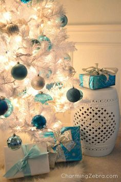 Blue and white tree