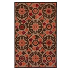 Townhouse Rugs Indoor/Outdoor Tertiary Coral 8-Feet  by 10-Feet  Area Rug