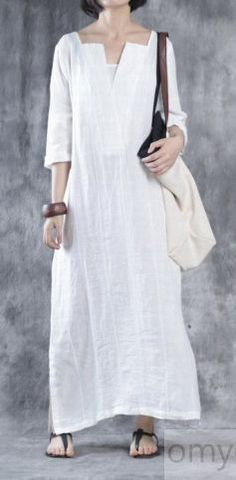 7382be3b598 White Linen dresses oversize maxi dress linen caftans