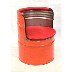 Oil Drum Seat Made from Upcycled Metal Furniture Drum Seat, Drum Chair, Vintage Industrial, Industrial Design, Oil Drum, Big Chair, Outdoor Garden Furniture, Online Furniture Stores, Metal Projects