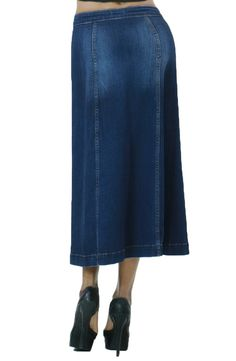Women's Fashion Dark Wash Denim Long Maxi Flare Skirt with Buttons at Amazon Women's Clothing store: