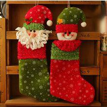 """35 cm (13.7 """") Cabeça Do Boneco de neve Do Floco De Neve de Natal de Santa Stocking Meias Enfeites Da Árvore De Natal Do Partido Decoração Suprimentos Presente Saco de doces alishoppbrasil"""
