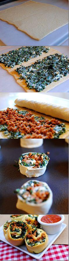Spinach and Sausage Pinwheels - Crazy Taste Buds