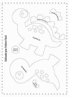 Disclosure of felt templates, tutorials, ideas and inspirations! Felt Animal Patterns, Stuffed Animal Patterns, Applique Patterns, Sewing Patterns, Sewing Crafts, Sewing Projects, Sewing Toys, Felt Templates, Dinosaur Pattern