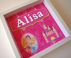 Personalized Disney Princess Room Decor - 6 Backgrounds to Choose From - Girl's Room Decor - Children's Room Decor