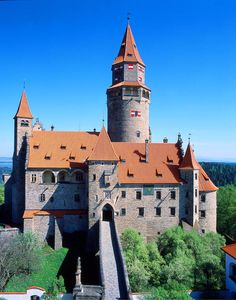 Bouzov Castle is an early 14th-century fortress first mentioned in 1317. It was built on a hill between the village of Hvozdek and the town of Bouzov, 21 km west of Litovel and 28 km northwest of Olomouc, in Moravia, Czech Republic. Wikipedia