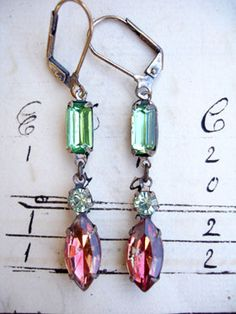 Peridot Chrysolite Jonquil with Siam Vintage Repurposed Earrings From gold-plated leverback earrings are 2 vintage components - at the top is vintage faceted peridot green glass connector and from the bottom is a 2-part drop with a vintage chrysolite stone at the top and a jonquil siam stone at the bottom. Gorgeous together....