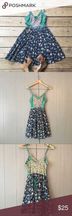 """Gorgeous Patrons of Peace floral sun dress🍃 This mini Fit & Flare is perfect for that summer boho chic look. The details and colors on this dress are simply beautiful. Skirt is lined and pleated. Double spaghetti straps and ties in the back. Zips on the side. This dress is in excellent used condition! 100% cotton. Armpit to armpit is 16"""". Top of strap to bottom hem (length) is 35"""".***Stock photo is not the same dress but the same style. Buckle Dresses Mini"""