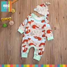 Cheap baby set, Buy Quality baby boy girl clothes directly from China boy girl clothes Suppliers: Baby Set 2017 Newborn Infant Baby Boy Girls Clothes Spring Long Sleeve Fox Print Romper Jumpsuit+Hat Baby Clothes Outfits Baby Outfits, Outfits With Hats, Toddler Outfits, Kids Outfits, Baby Set, Cute Rompers, Girls Rompers, Cheap Baby Clothes Online, Toddler Jumpsuit