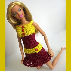 Barbie clothes crocheted red and yellow dress by KikamoraCrafts, $13.99