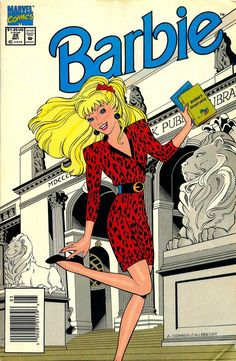Barbie with books at the public library. Barbie May 1993 by Marvel. By Lisa Trusiani and Amanda Conner. Cover by Amanda Conner and Jeff Albrecht. When Skipper takes a babysitting job, she and the children find themselves up against a counterfeiting ring. Vintage Cartoon, Vintage Comics, Vintage Posters, Barbie Cartoon, Lisa, Comic Book Covers, Comic Books, Barbie Friends, Barbie World