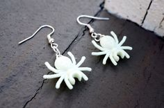Glow-in-the-Dark White SPIDER Dangly EARRINGS  Just in time for Halloween by LettersByLilly!