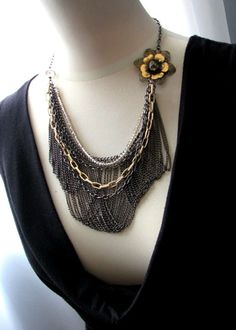 Paris Jazz  Multi Chains Flower Bib Statement by PoeticDesigns, $88.00