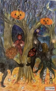 Pencil drawing of children playing on Halloween
