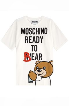 We love #Moschino for its cheeky humor and playful fashions, and this season doesn't disappoint, complete with teddy bear prints and tongue-in-cheek slogans. Style this white cotton tee with everything form skinny denim to miniskirts #Stylebop