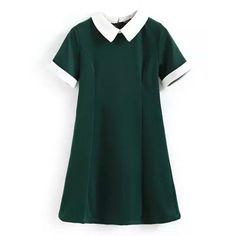 School Girl Collared Mini Dress (72 BRL) ❤ liked on Polyvore featuring dresses, vestidos, green, платья, short sleeve dress, green dress, peter pan dress, sleeved dresses and green mini dress