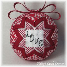 Valentine's Quilted Keepsake Ornament by PattysCraftCorner on Etsy