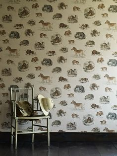 Fierce Creatures Wallpaper from Linwood Ephemera Wallpapers Collection. A wallpaper featuring natural history style prints of jungle animals. Print Wallpaper, Animal Wallpaper, Fabric Wallpaper, Cool Wallpaper, Linwood Fabrics, Motifs Animal, Pretty Animals, Jungle Animals, Covered Boxes
