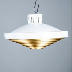 Lisa Johansson-Pape; Brass and Enameled Metal Ceiling Light, 1960s.