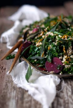 Kale Beet Buckwheat Salad w Sweet Turmeric Dressing + Fried Sage || + pics from our Icelandic travels || www.Earthsprout.com