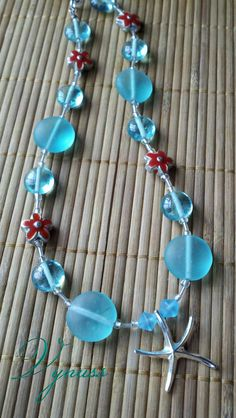$30 Teal and coral sea necklace