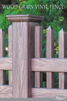 So you're looking for a fence. You like wood, but don't like to stain or paint it. You like the idea of vinyl but don't like glossy white.   THE SOLUTION: Grand Illusions Vinyl WoodBond from Illusions Vinyl Fence. It's PVC vinyl fence that looks just like real wood. Without the maintenance.  WHERE DO I BUY? Simple. Call your local fence installer and ask for Grand Illusions Vinyl WoodBond by name.  WHICH GRAIN IS IN THIS PHOTO? This is the Walnut (W104). #illusionsfence