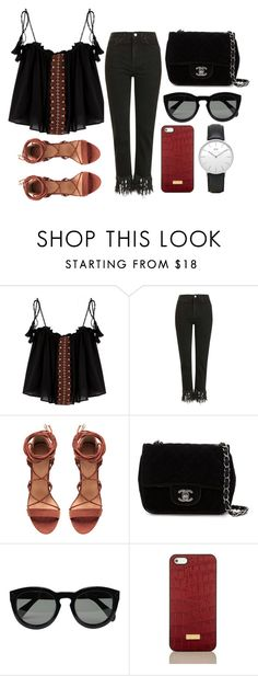 """""""Untitled #912"""" by micaela1997 ❤ liked on Polyvore featuring Topshop, Chanel, CÉLINE, Brahmin and Daniel Wellington"""