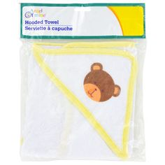 "Bulk Angel of Mine Infant Hooded Towels, 20x24"" at DollarTree.com - Soft little hooded towels keep baby dry and warm after a bath. Each hooded towel has a yellow boarder and is decorated with a little teddy bear. The perfect baby shower gift, hooded towels measure 20x"