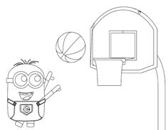 Minion Playing Basketball Coloring Pages 11