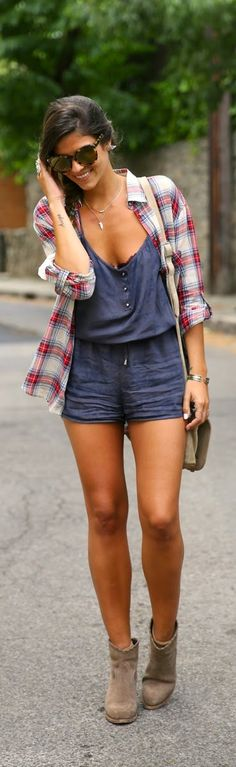 Stlye Me Hip: Chic Plaid with Love spikes instead buttons Overal...