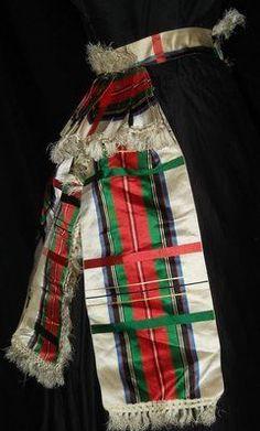 Civil War Era Plaid Silk Belt w Long Fringe Trimmed Tails | eBay seller jamiexmas; silk, front closure trimmed in rosette with fringe, ...